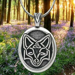 Celtic-Pewter-Fox-Pendant-made-in-USA-with-21-inch-snake-stainless-steel-chain