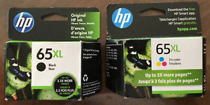 2022-2023!  Genuine HP 65XL Black & 65XL Color Ink Cartridges Combo Brand New