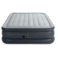 Intex QueenDura Beam Essential Bed Air Mattress w/ Built-in Electric Pump, Gray