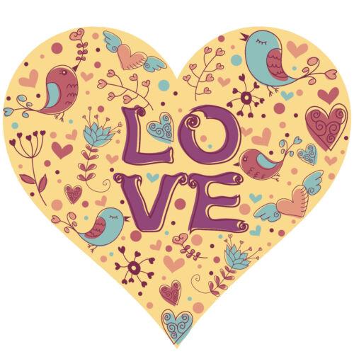 L09 Bügelbild Bügeltransfer Aufbügler Love Heart Vögel DIN A4 A5 alle Stoffe