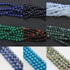 Natural-Gemstone-Round-Spacer-Loose-Beads-Jewelry-Making-Assorted-Stones-4-12mm