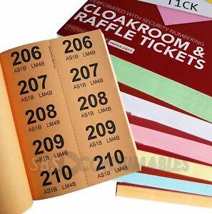 image is loading raffle cloakroom tombola bingo coloured ticket books numbered