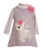 Bonnie Baby Skating Bear Sweater-knit Jumper & Striped Knit Onesie 3-6 Months