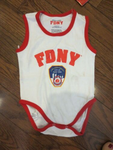 FDNY White with RED Piping and Logo Onesie