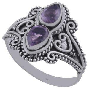 Solid-925-Sterling-Silver-Amethyst-Gemstone-2-Stone-Ring-Jewelry-R1942-8
