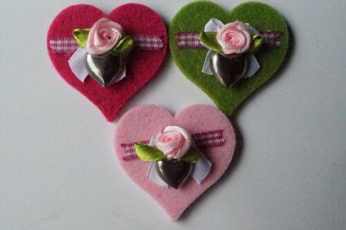 3 Stück Broschen Pink Rosa Apfelgrün mit Metallanhänger Herz Landhaus Dirndl