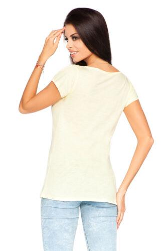 Womens Casual T-Shirt Short Sleeve Crew Neck Summer Top Size 8-12 FT2020