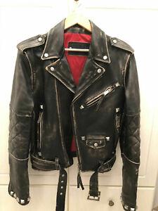 Details zu BGG Leder jacke Vintage Look Herren Hochwertige Handfertig Biker jacket Black