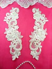 "Venise Lace Mirror Pair Ivory Pearl Beaded Appliques Embroidered 9"" (BL90)"