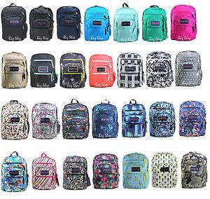 Authentic Jansport BIG STUDENT Large Student Backpack Black Grey ...