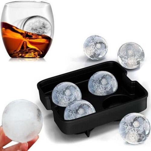 1x 4 Zelle Whisky Eiswürfel Ball Maker Form Kugelform Party Tablett Runde Bar