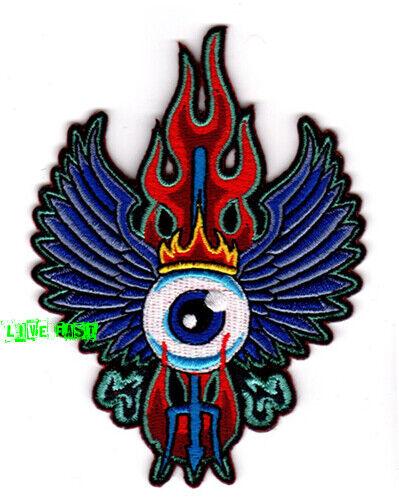 FLYING EYE PATCH EMBROIDERED psychedelic art hippie vanner biker vest jacket