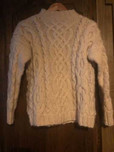 Vintage Hand Knit Wool Cable Sweater Small