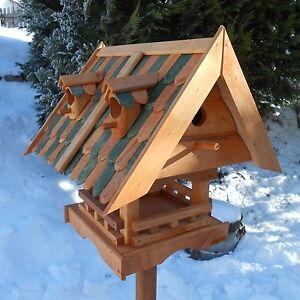 Grosses-Vogelhaus-mit-Nistkasten-Holz-Vogelfutterhaus-Meisenhaus-Wetterfest-Bunt