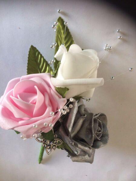 * Nuovo * Bianco/rosa/argento Matrimonio Bouquet/occhiello Materiali Di Alta Qualità