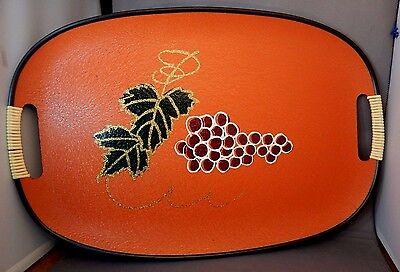 Vintage Mid-Century Modern Retro Fiberboard Serving Tray Grapes & Leaves EUC