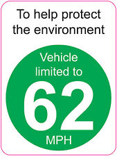 [ 120x160mm ] LIMITED TO 62 MPH   TO HELP PROTECT THE ENVIRONMENT - VAN/WAGGON