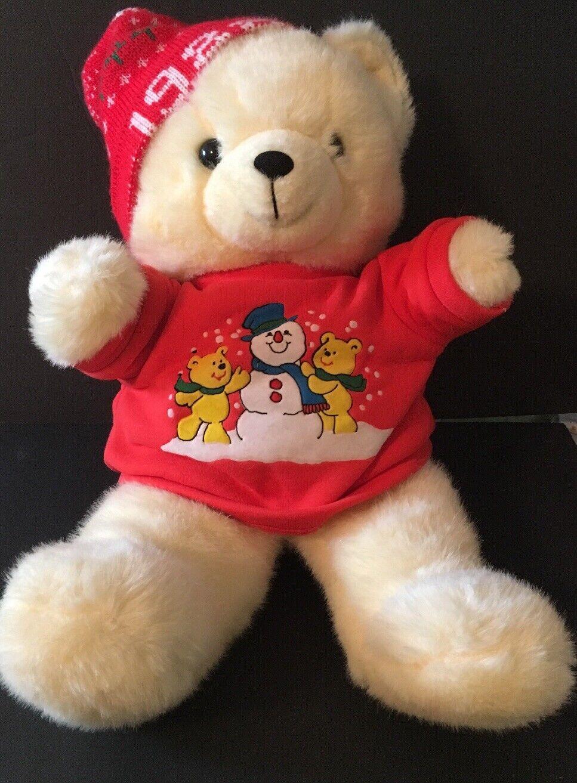 "21"" VINTAGE KMART 1988 CHRISTMAS TEDDY BEAR STUFFED ANIMAL TOY PLUSH 1986"