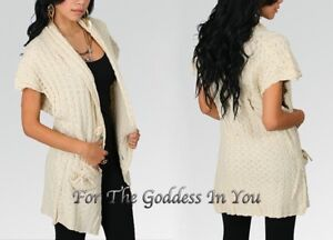S8 BLUE KNITTED CARDIGAN SWEATER LARGE BUTTON SWEETHEART POCKETS WOMENS S M L