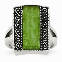 Stainless Steel Antiqued Synthetic Jade Rectangular Ring - Size 6