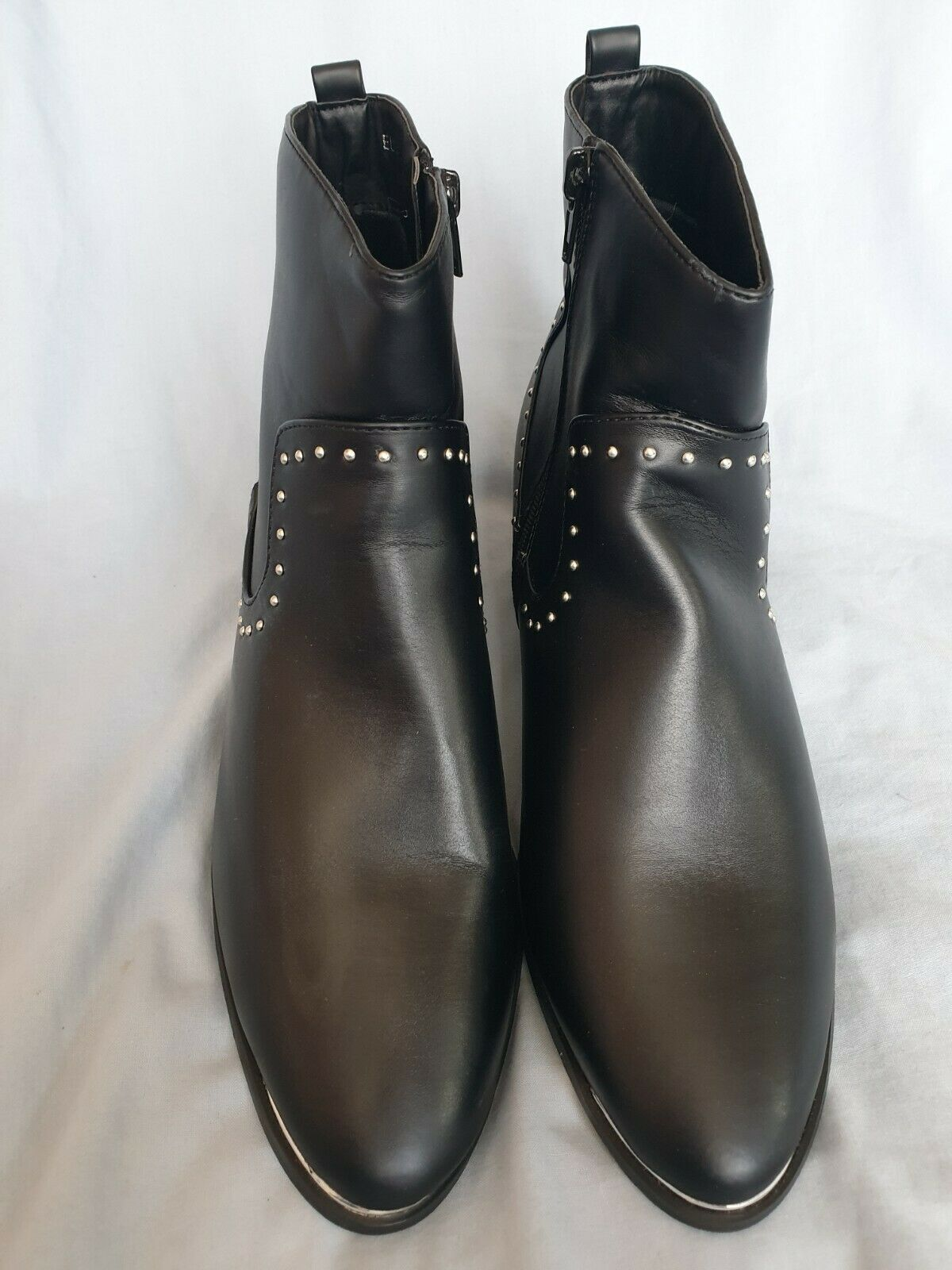 New JD Williams Ladies Faux Leather Black Ankle Boots Size UK 7 EX WIDE.