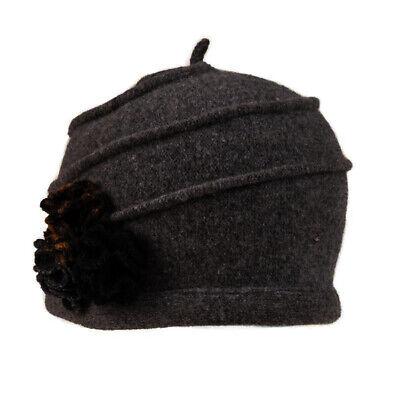 Ladies Wool Cloche Hat With Flower Detail Soft Felt Warm Roll Up Brim Winter Cap