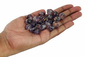 Purple-Natural-Amethyst-Stones-Rune-Set-Healing-Reiki-Tumble-Stones-Pouch-25-PC