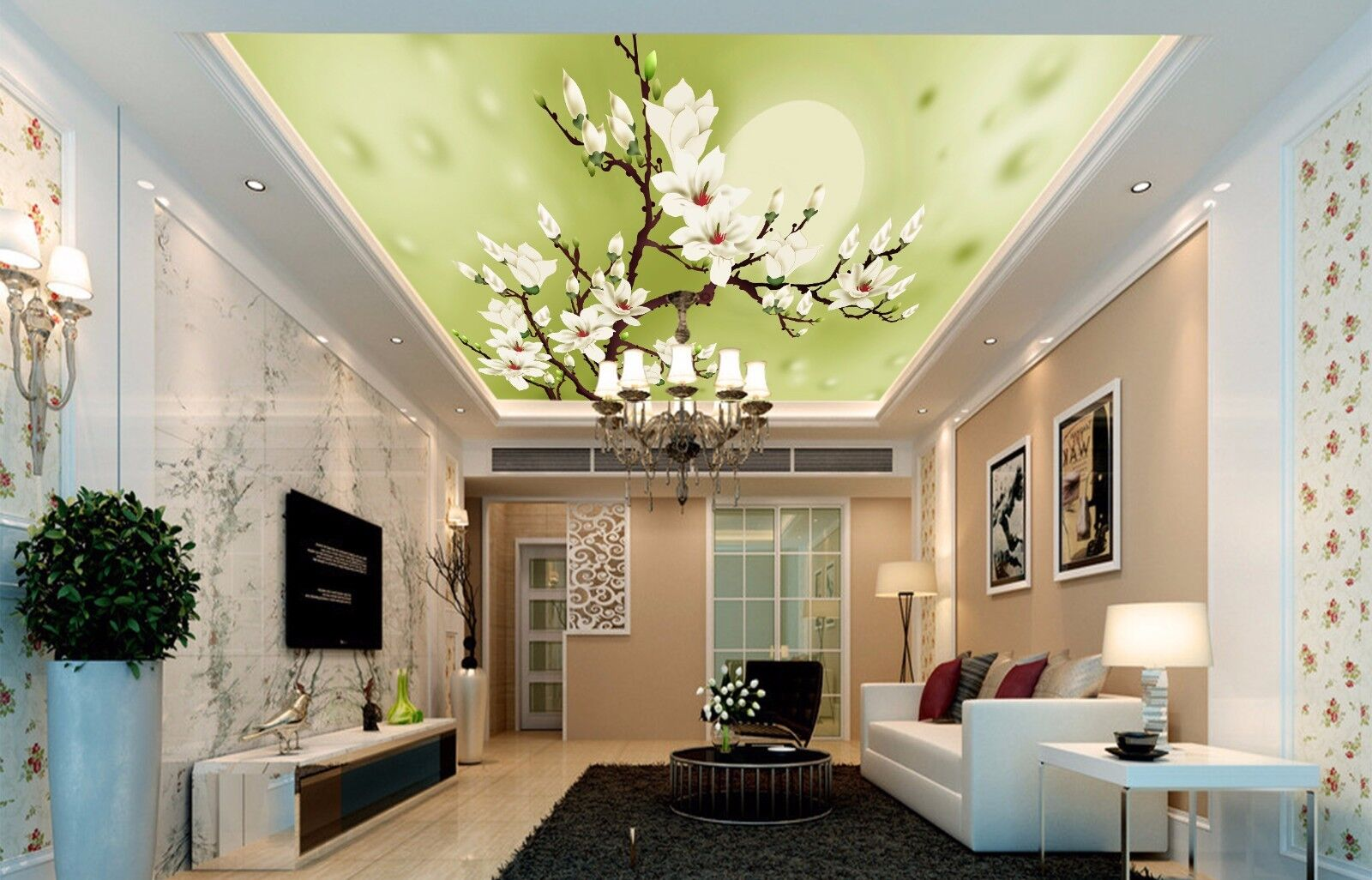3D Weiß Flower 9 Ceiling WallPaper Murals Wall Print Decal Deco AJ WALLPAPER GB
