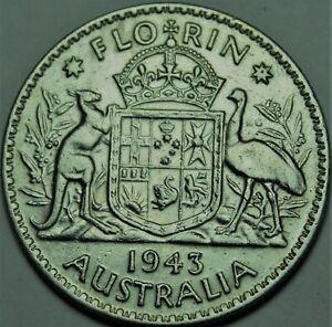 Australia Florin, 1943 Silver~George VI