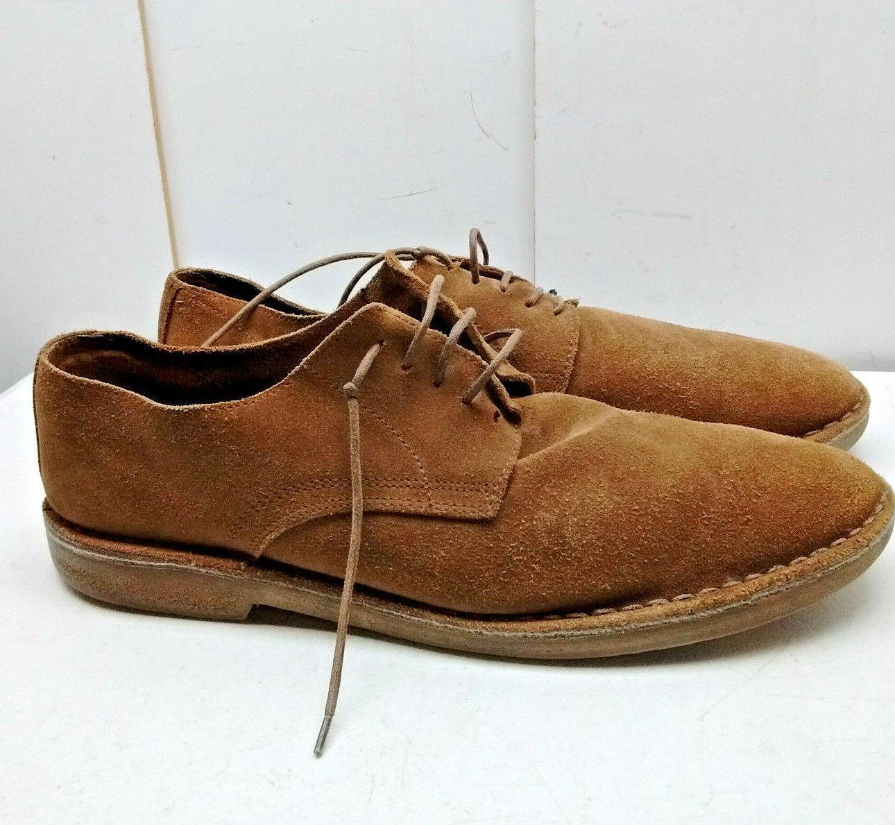 J.Crew  Brown Nubuk Leather Oxfords Plain Toe Casual Dress Men shoes 13.5M