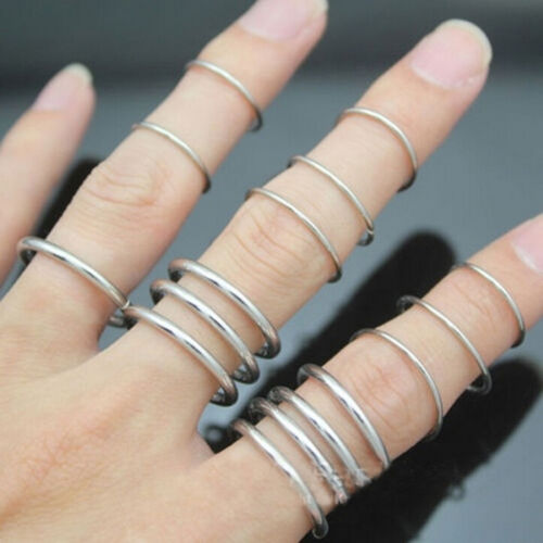 16X//Set New Stylish Punk Stackable Plain Band Above Knuckle Midi Finger Ring}
