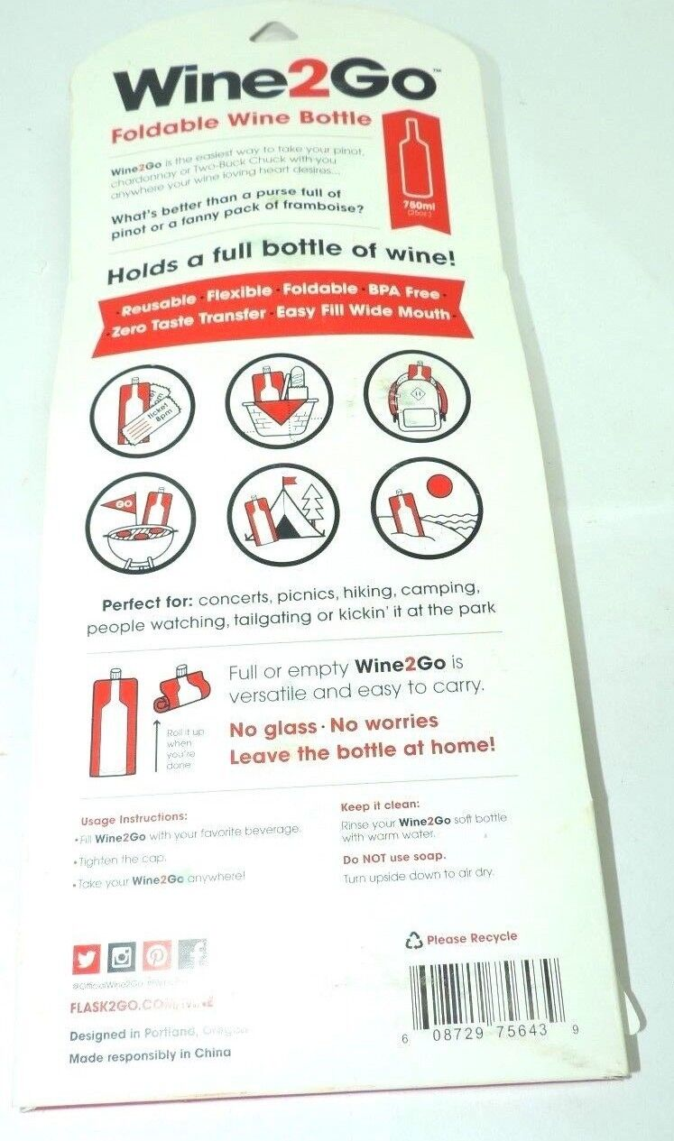 Wine2Go Foldable Wine Bottle Reusable Flexible Leakproof for Concerts Hiking etc