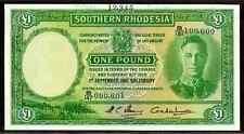 "SOUTHERN RHODESIA  P10fs ""KING GEORGE VI"" 1 POUND DATED 1.9.1951  RAW AU!"