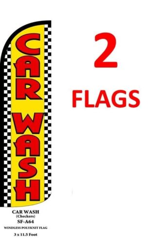 CAR WASH yel//red//chk 11.5/' x 3/' WINDLESS SWOOPER FLAGS BANNERS two 2