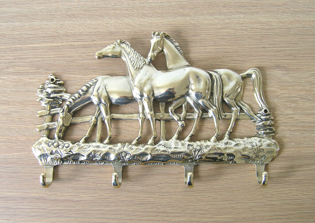 Keyholder, Italian Cast Brass, Horses in Meadow Design