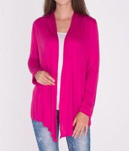 943746447ec Hot Pink Fuchsia Open Front Draped Cardigan Top Shirt Sweater SML ...
