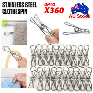 Upto 360x Stainless Steel Clothes Pegs Hanging Clip Pins Laundry Windproof Clamp