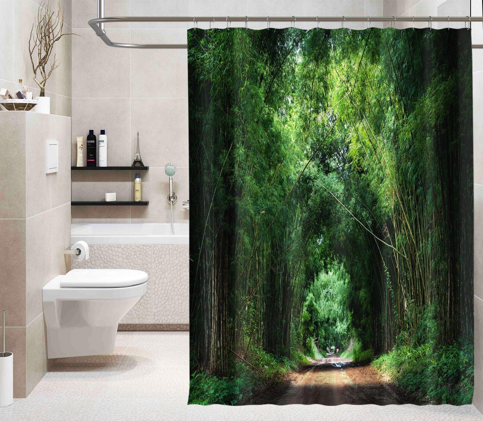 3D Vert Bambou 324 Rideau de Douche Imperméable Fibre Salle de Bain Home Windows Toilette