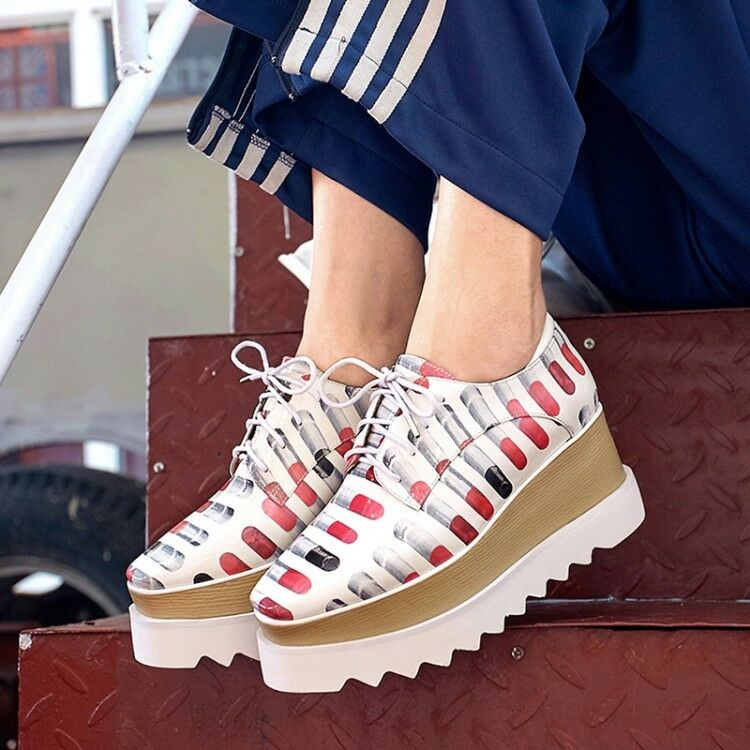 100% di contro garanzia genuina New donna Round Toe Lace up platform Wedge Wedge Wedge Heels Athletic Casual Stripe scarpe  bellissima