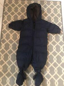 c3ef0f34b Baby Gap Down Snowsuit 6-12 Months Navy One Piece Matching Mittens ...