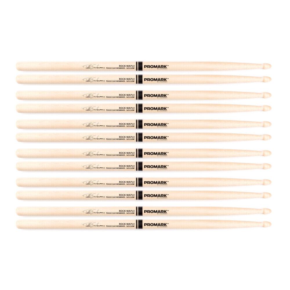 6 Pairs Promark Todd Sucherman SD330 Styx Ahorn Holz Eichel Spitze Drumsticks
