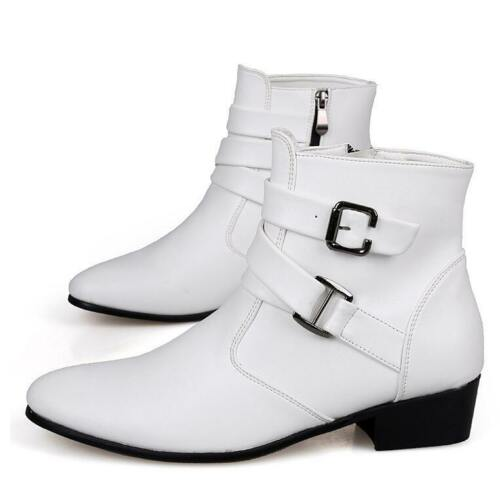 Mens Pointed Toe Buckles High Top Ankle Boots Low Cuban Heel Winter Casual Shoes