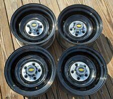 Set 4 70s 80s 90s Chevy Gmc Truck 15 X8 Gm Rally Wheels Rims Powder Coated Black