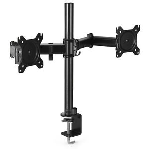 Dual Monitor Mount Desk Stand Adjustable Arm Tilt Swivel Rotate