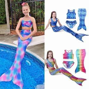 4a481e1064ac Image is loading Girl-Kids-Swimmable-Mermaid-Tail-Bikini-Swimsuit-Swimming-
