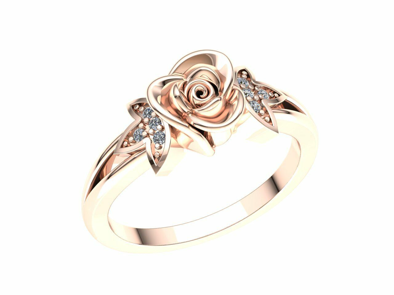0.33carat Round Brilliant Cut Diamond Ladies Flower Fancy Promise Ring 10K gold
