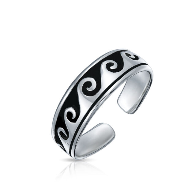 Oxidized silver knuckle ring toe ring Adjustable open thin stacking ring Sterling silver pinky ring for women Boho silver midi ring