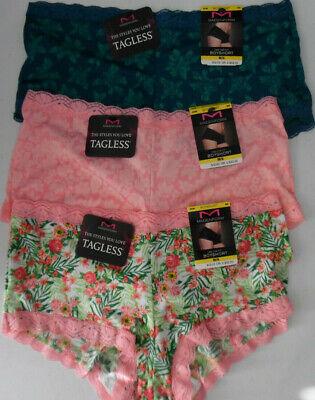 2 Maidenform Panty Set Lace Trim Fab Fit Boyshort 40760 Pink Ivory Nude 7 L NWT