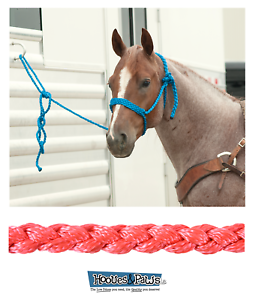 Classic Equine Strong Heavy Duty Horse Rope Halter with 8' Lead Pink