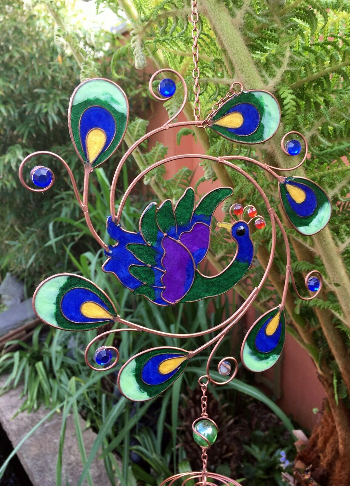 Large Stained Glass Green Peacock Windchime - Radiant Sun Catcher